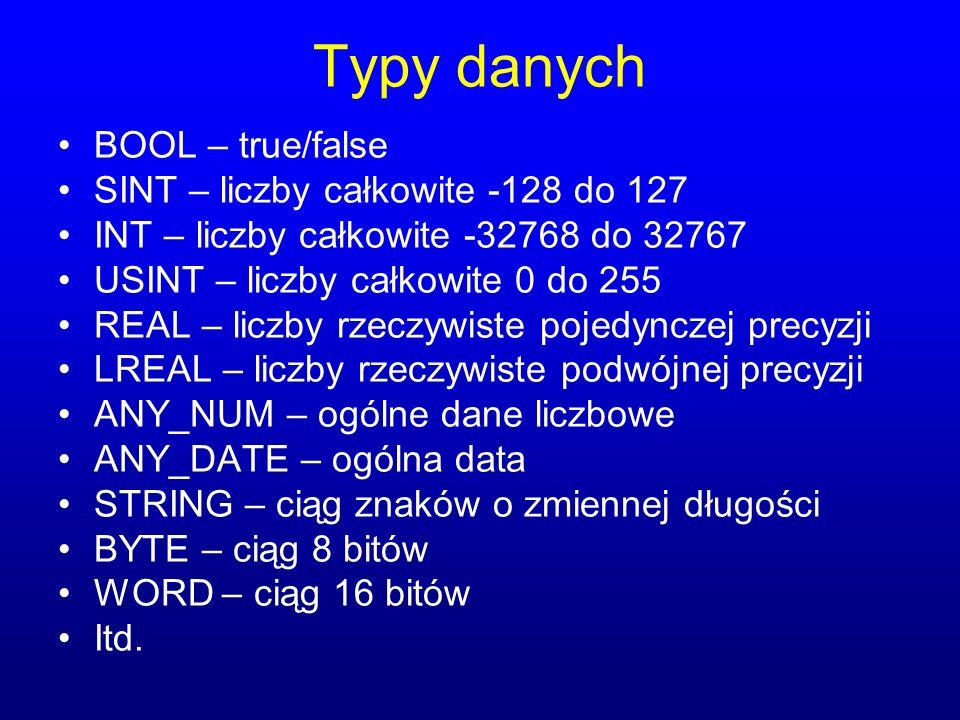 Typy danych BOOL – true/false SINT – liczby całkowite -128 do 127 INT – liczby całkowite -32768 do 32767 USINT – liczby całkowite 0 do 255 REAL – licz