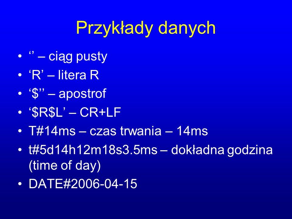 Przykłady danych – ciąg pusty R – litera R $ – apostrof $R$L – CR+LF T#14ms – czas trwania – 14ms t#5d14h12m18s3.5ms – dokładna godzina (time of day) DATE#2006-04-15