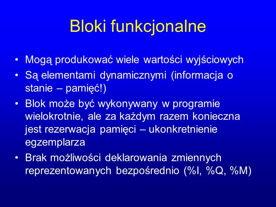 Bloki funkcjonalne Mogą produkować wiele wartości wyjściowych Są elementami dynamicznymi (informacja o stanie – pamięć!) Blok może być wykonywany w pr