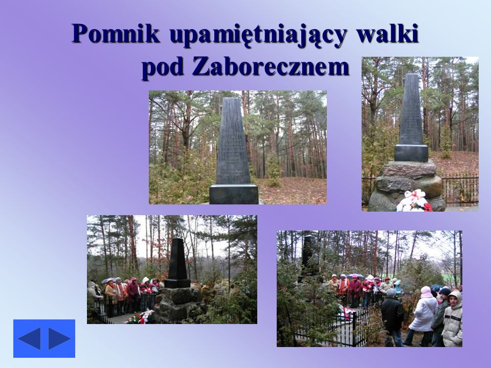 Droga do pomnika upamiętniającego walki pod Zaborecznem