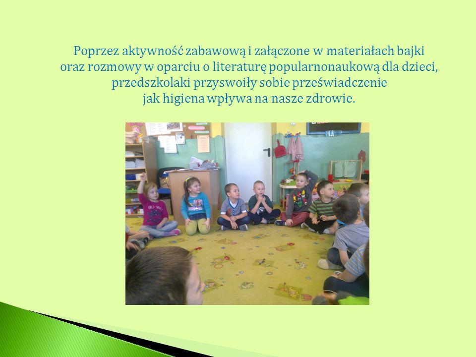 Poprzez aktywność zabawową i załączone w materiałach bajki oraz rozmowy w oparciu o literaturę popularnonaukową dla dzieci, przedszkolaki przyswoiły s