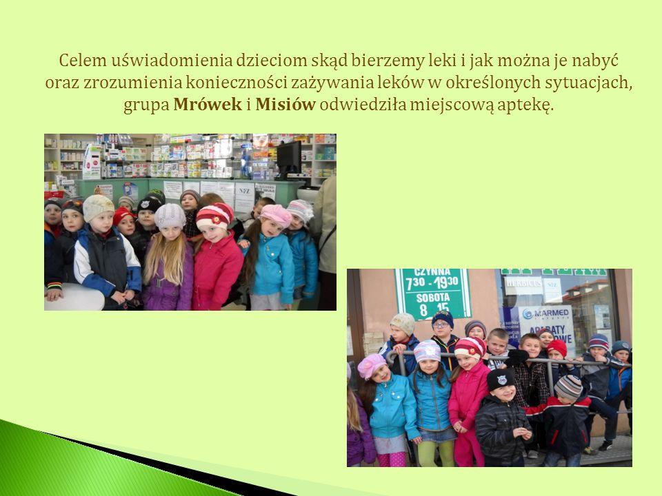Celem uświadomienia dzieciom skąd bierzemy leki i jak można je nabyć oraz zrozumienia konieczności zażywania leków w określonych sytuacjach, grupa Mró