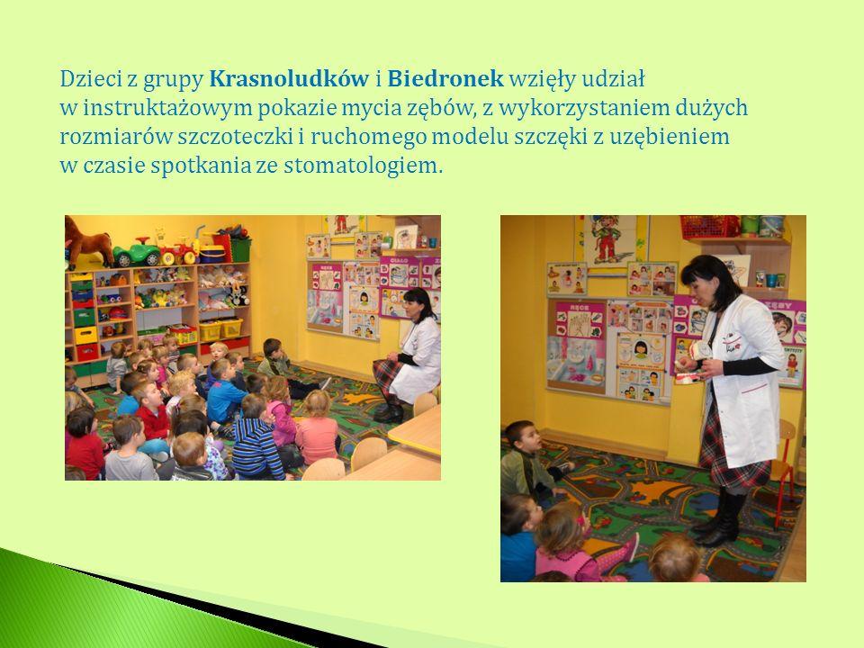 Dzieci z grupy Krasnoludków i Biedronek wzięły udział w instruktażowym pokazie mycia zębów, z wykorzystaniem dużych rozmiarów szczoteczki i ruchomego