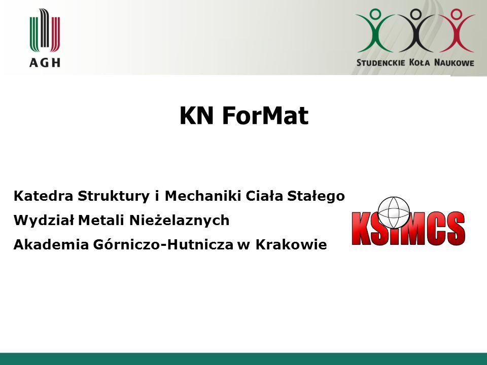 KN ForMat Katedra Struktury i Mechaniki Ciała Stałego Wydział Metali Nieżelaznych Akademia Górniczo-Hutnicza w Krakowie