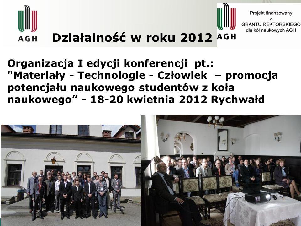 Działalność w roku 2012 XLIX Sesja Studenckich Kół Naukowych Pionu Hutniczego AGH 10 maja 2012, Kraków na którym w sekcji Inżynierii Metali, przedstawiono 12 referatów