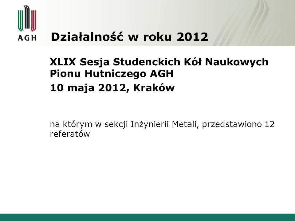 Działalność w roku 2012 XLIX Sesja Studenckich Kół Naukowych Pionu Hutniczego AGH 10 maja 2012, Kraków na którym w sekcji Inżynierii Metali, przedstaw