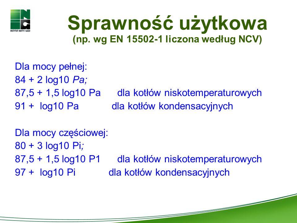 Sprawność użytkowa (np. wg EN 15502-1 liczona według NCV) Dla mocy pełnej: 84 + 2 log10 Pa; 87,5 + 1,5 log10 Pa dla kotłów niskotemperaturowych 91 + l
