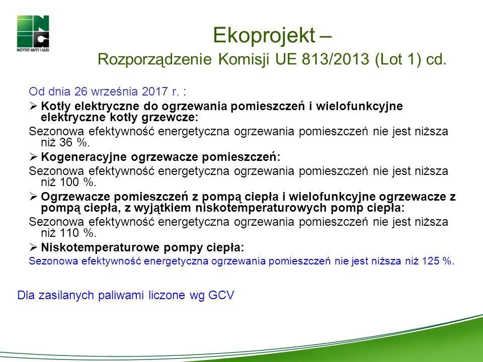Ekoprojekt – Rozporządzenie Komisji UE 813/2013 (Lot 1) cd. Od dnia 26 września 2017 r. : Kotły elektryczne do ogrzewania pomieszczeń i wielofunkcyjne
