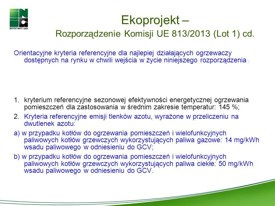 Ekoprojekt – Rozporządzenie Komisji UE 813/2013 (Lot 1) cd. Orientacyjne kryteria referencyjne dla najlepiej działających ogrzewaczy dostępnych na ryn