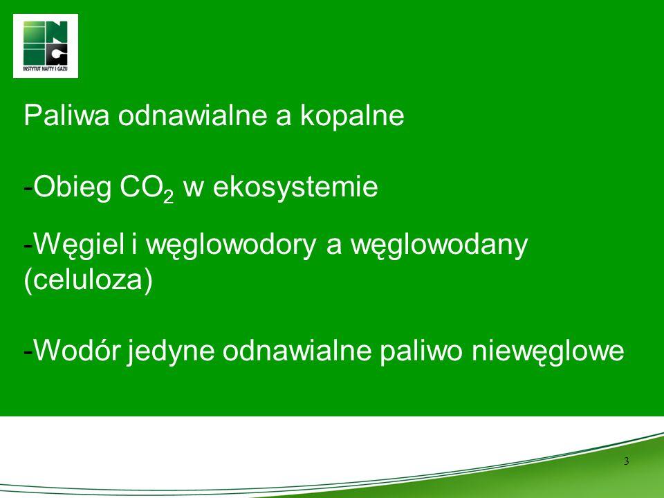 3 Paliwa odnawialne a kopalne -Obieg CO 2 w ekosystemie -Węgiel i węglowodory a węglowodany (celuloza) -Wodór jedyne odnawialne paliwo niewęglowe
