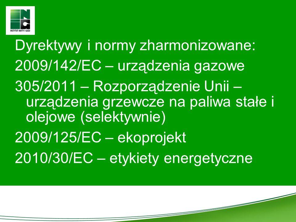 Dyrektywy i normy zharmonizowane: 2009/142/EC – urządzenia gazowe 305/2011 – Rozporządzenie Unii – urządzenia grzewcze na paliwa stałe i olejowe (sele