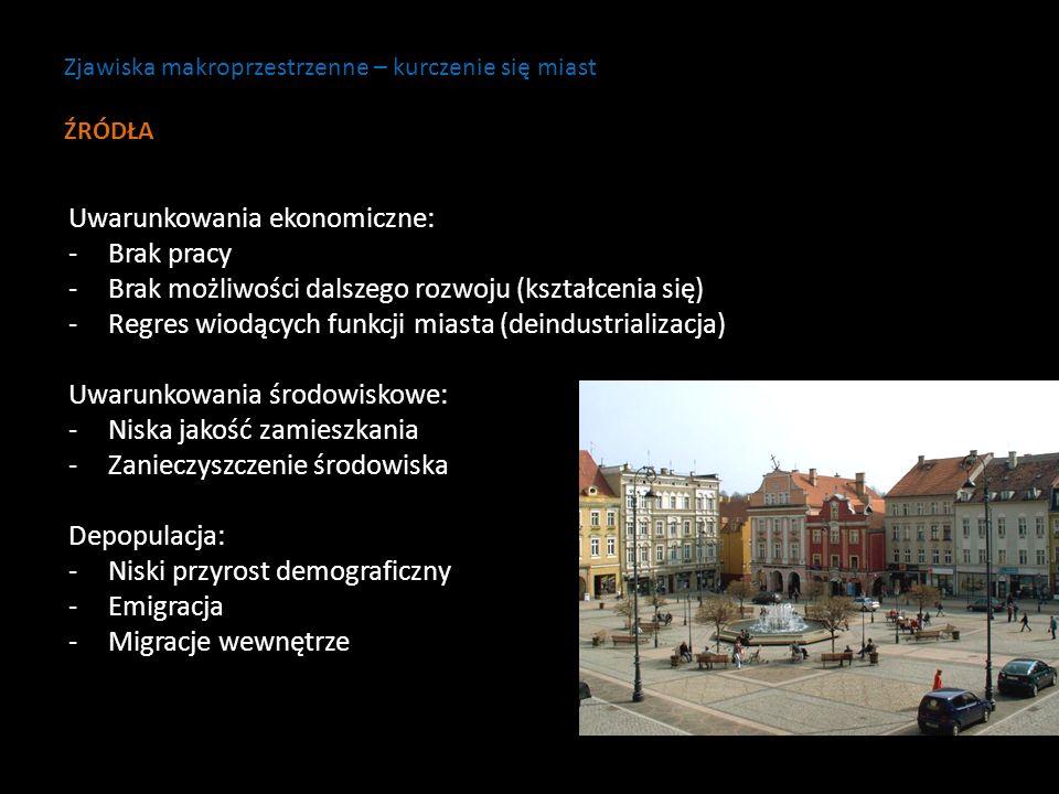 Uwarunkowania ekonomiczne: -Brak pracy -Brak możliwości dalszego rozwoju (kształcenia się) -Regres wiodących funkcji miasta (deindustrializacja) Uwaru