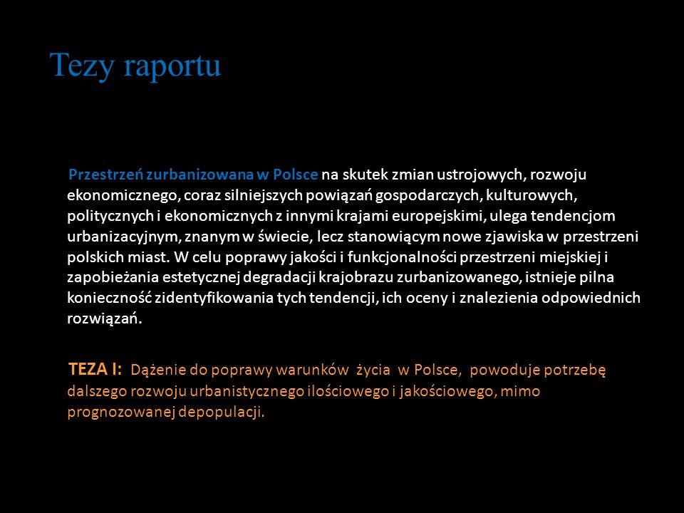 Tezy raportu Przestrzeń zurbanizowana w Polsce na skutek zmian ustrojowych, rozwoju ekonomicznego, coraz silniejszych powiązań gospodarczych, kulturow