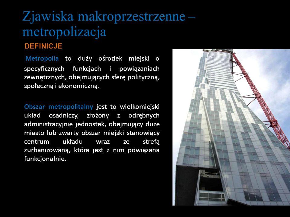Zjawiska makroprzestrzenne – metropolizacja Metropolia to duży ośrodek miejski o specyficznych funkcjach i powiązaniach zewnętrznych, obejmujących sfe