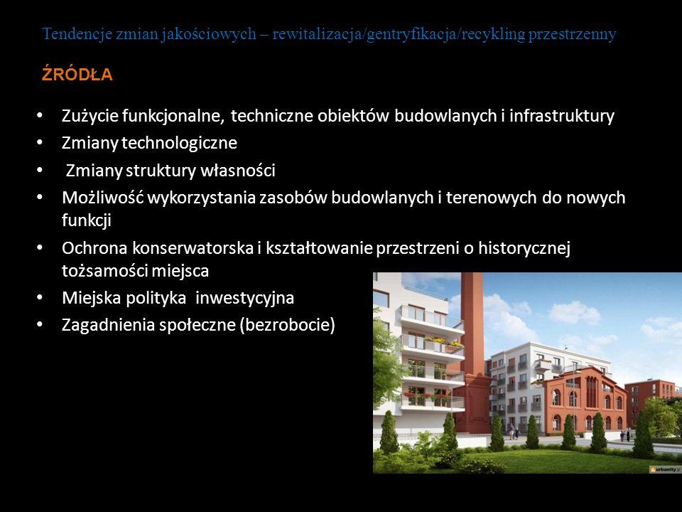 Zużycie funkcjonalne, techniczne obiektów budowlanych i infrastruktury Zmiany technologiczne Zmiany struktury własności Możliwość wykorzystania zasobó