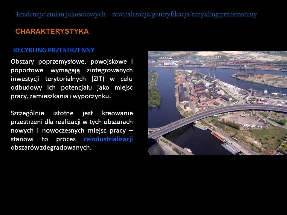 RECYKLING PRZESTRZENNY Obszary poprzemysłowe, powojskowe i poportowe wymagają zintegrowanych inwestycji terytorialnych (ZIT) w celu odbudowy ich poten
