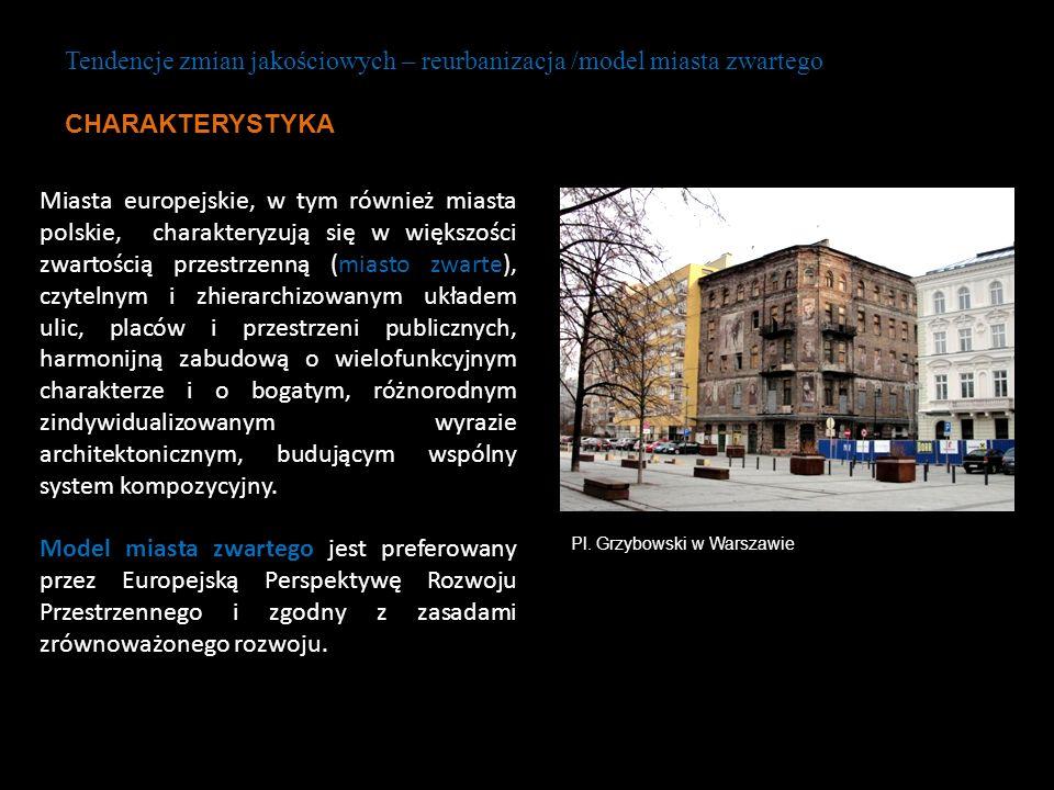 Miasta europejskie, w tym również miasta polskie, charakteryzują się w większości zwartością przestrzenną (miasto zwarte), czytelnym i zhierarchizowan
