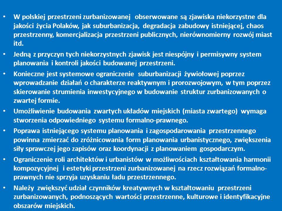 W polskiej przestrzeni zurbanizowanej obserwowane są zjawiska niekorzystne dla jakości życia Polaków, jak suburbanizacja, degradacja zabudowy istnieją
