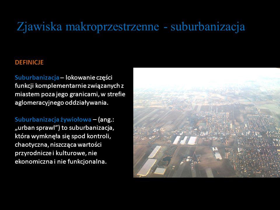 Zjawiska makroprzestrzenne - suburbanizacja DEFINICJE Suburbanizacja – lokowanie części funkcji komplementarnie związanych z miastem poza jego granica