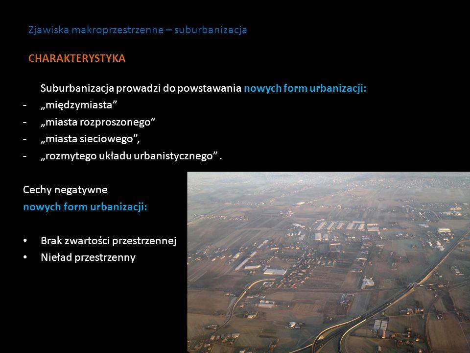 Suburbanizacja prowadzi do powstawania nowych form urbanizacji: -międzymiasta -miasta rozproszonego -miasta sieciowego, -rozmytego układu urbanistyczn