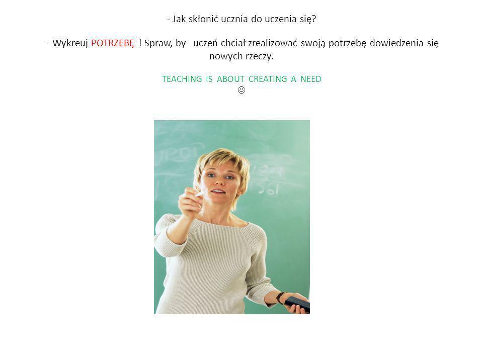 - Jak skłonić ucznia do uczenia się? - Wykreuj POTRZEBĘ ! Spraw, by uczeń chciał zrealizować swoją potrzebę dowiedzenia się nowych rzeczy. TEACHING IS