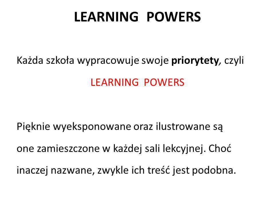 LEARNING POWERS Każda szkoła wypracowuje swoje priorytety, czyli LEARNING POWERS Pięknie wyeksponowane oraz ilustrowane są one zamieszczone w każdej s