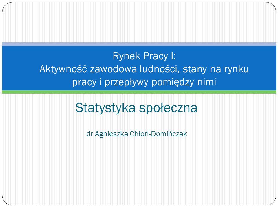 Statystyka społeczna dr Agnieszka Chłoń-Domińczak Rynek Pracy I: Aktywność zawodowa ludności, stany na rynku pracy i przepływy pomiędzy nimi