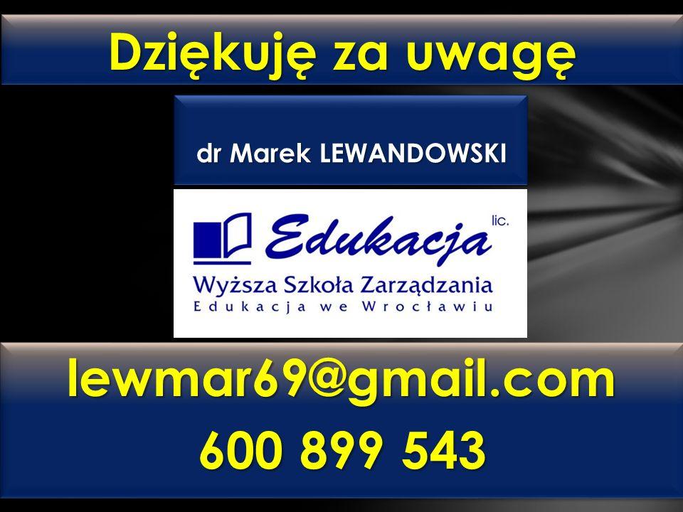 Dziękuję za uwagę dr Marek LEWANDOWSKI