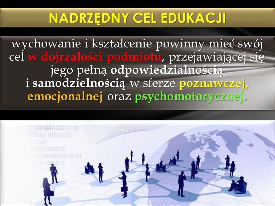 NADRZĘDNY CEL EDUKACJI wychowanie i kształcenie powinny mieć swój cel w dojrzałości podmiotu, przejawiającej się jego pełną odpowiedzialnością i samod