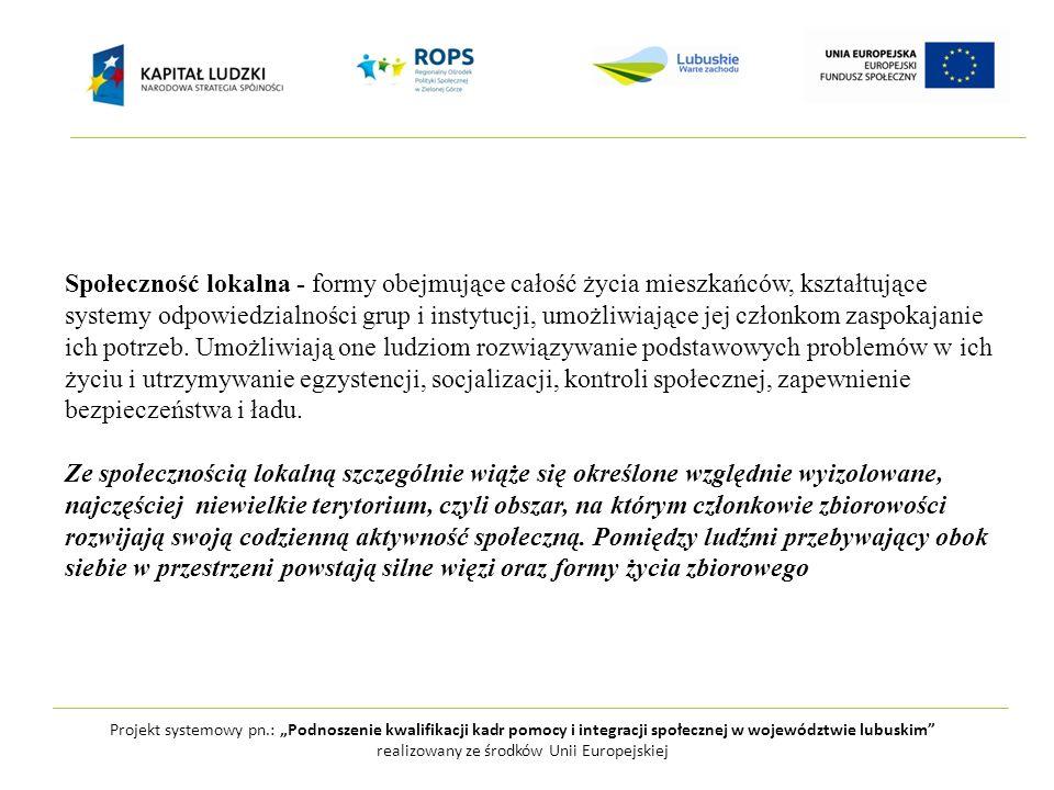 Projekt systemowy pn.: Podnoszenie kwalifikacji kadr pomocy i integracji społecznej w województwie lubuskim realizowany ze środków Unii Europejskiej S