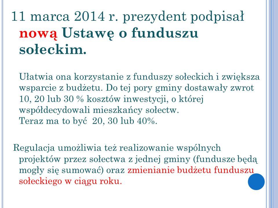 11 marca 2014 r. prezydent podpisał nową Ustawę o funduszu sołeckim. Ułatwia ona korzystanie z funduszy sołeckich i zwiększa wsparcie z budżetu. Do te