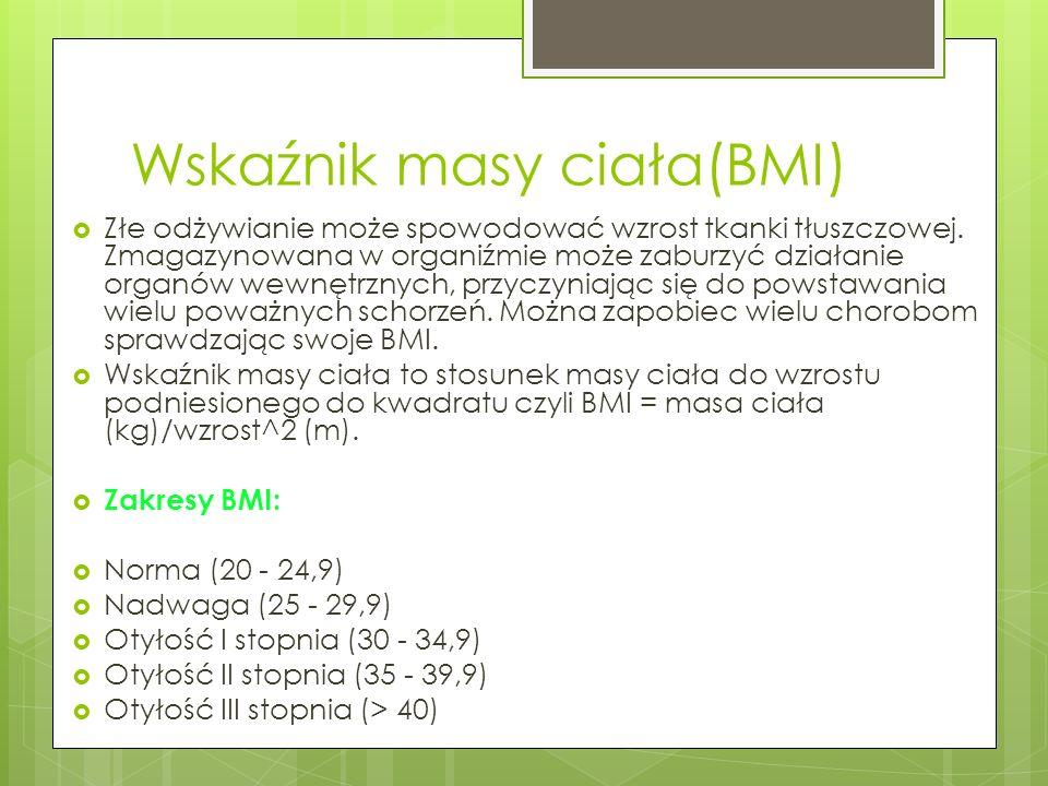 Wskaźnik masy ciała(BMI) Złe odżywianie może spowodować wzrost tkanki tłuszczowej. Zmagazynowana w organiźmie może zaburzyć działanie organów wewnętrz