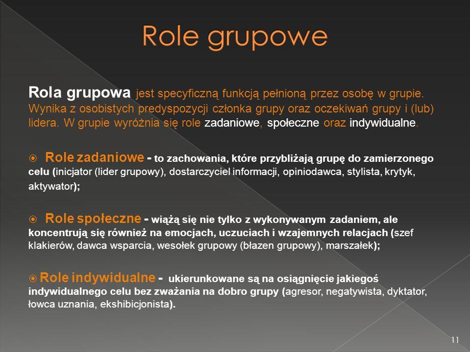 Rola grupowa jest specyficzną funkcją pełnioną przez osobę w grupie.