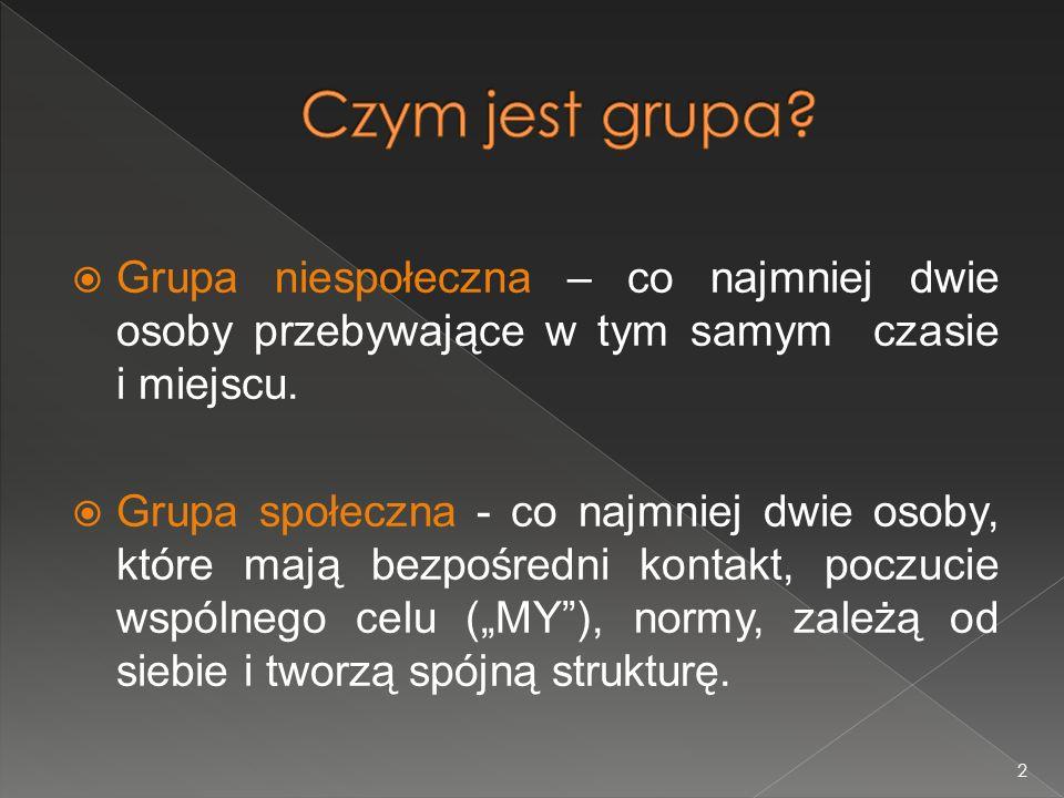 3 Struktura grupy Status Rola grupowa Pozycja społeczna Normy grupowe Interakcje Spójność grupy