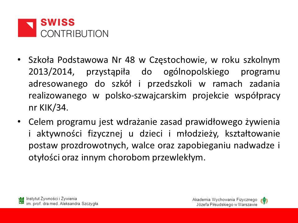 Szkoła Podstawowa Nr 48 w Częstochowie, w roku szkolnym 2013/2014, przystąpiła do ogólnopolskiego programu adresowanego do szkół i przedszkoli w ramac