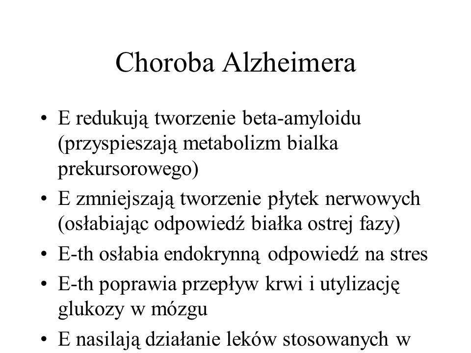 Choroba Alzheimera E redukują tworzenie beta-amyloidu (przyspieszają metabolizm bialka prekursorowego) E zmniejszają tworzenie płytek nerwowych (osłabiając odpowiedź białka ostrej fazy) E-th osłabia endokrynną odpowiedź na stres E-th poprawia przepływ krwi i utylizację glukozy w mózgu E nasilają działanie leków stosowanych w ch.