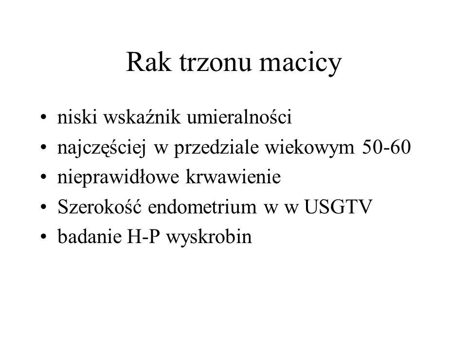 Rak trzonu macicy niski wskaźnik umieralności najczęściej w przedziale wiekowym 50-60 nieprawidłowe krwawienie Szerokość endometrium w w USGTV badanie H-P wyskrobin