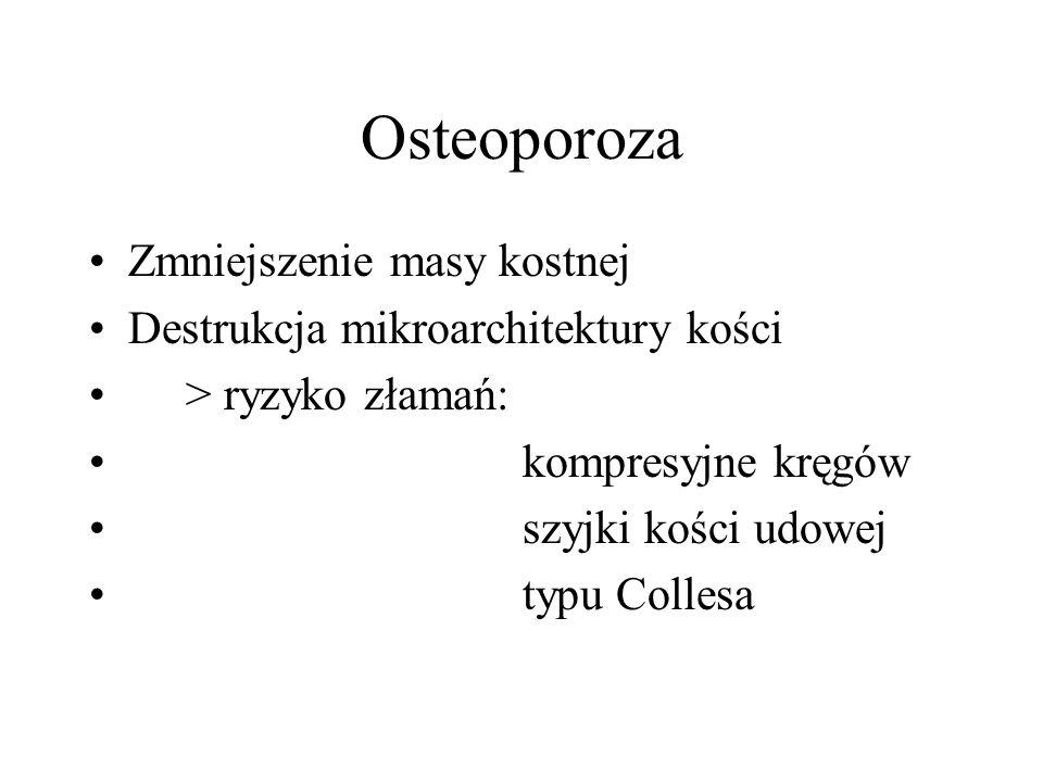 Osteoporoza Wczesna menopauza - nadmierna aktywność osteoklastów Późna menopauza - zmieniona aktywność osteoblastów Utrata kości korowej od 40rż 0,3-0,5%, po menopauzie 2-3% /rok Utrata kości beleczkowej po 35 rż 1,2% /rok, po menopauzie przyspiesza