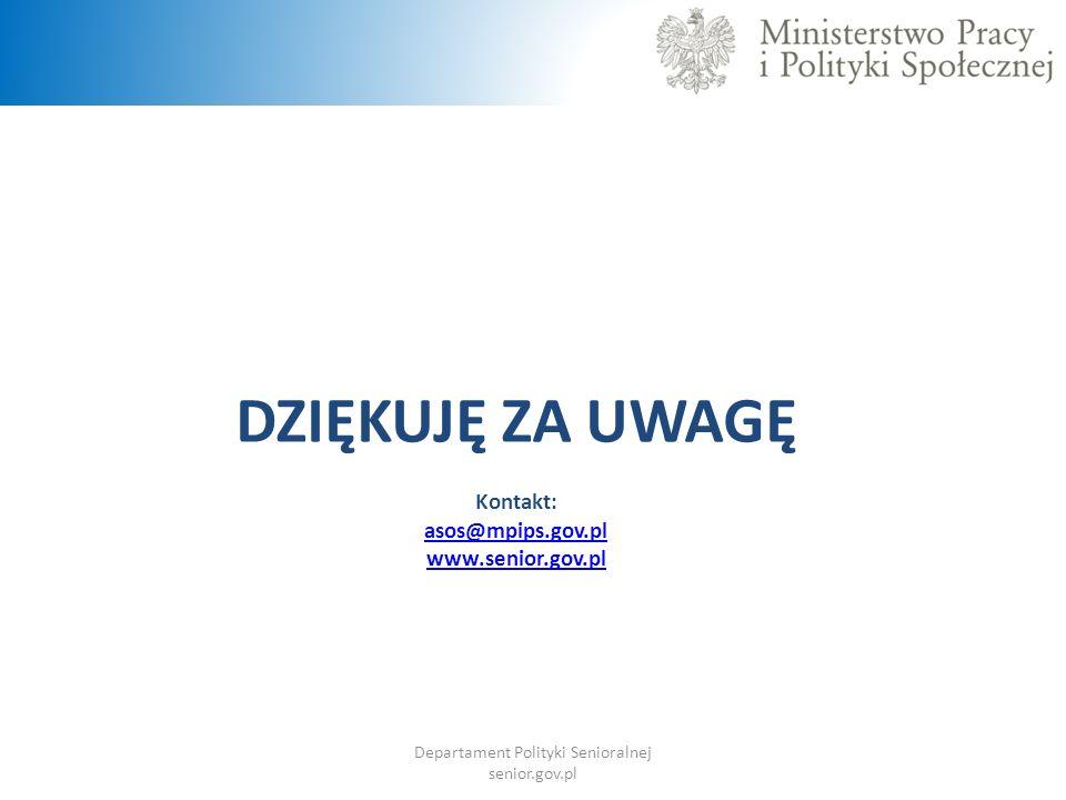 DZIĘKUJĘ ZA UWAGĘ Kontakt: asos@mpips.gov.pl www.senior.gov.pl Departament Polityki Senioralnej senior.gov.pl