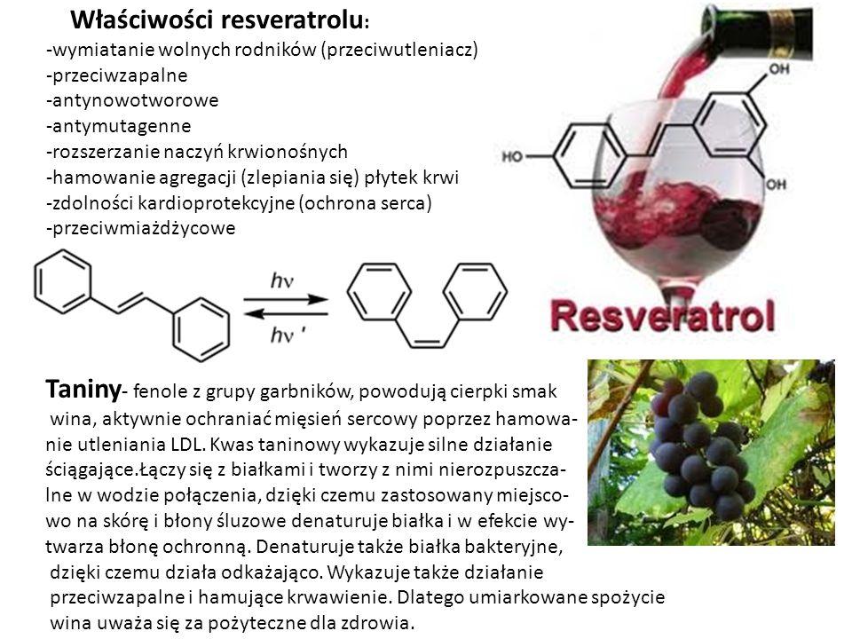 Właściwości resveratrolu : -wymiatanie wolnych rodników (przeciwutleniacz) -przeciwzapalne -antynowotworowe -antymutagenne -rozszerzanie naczyń krwion
