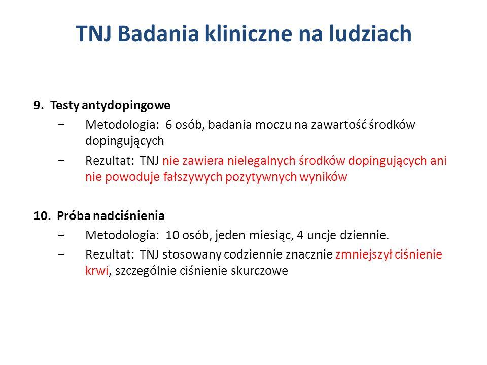 9. Testy antydopingowe Metodologia: 6 osób, badania moczu na zawartość środków dopingujących Rezultat: TNJ nie zawiera nielegalnych środków dopingując