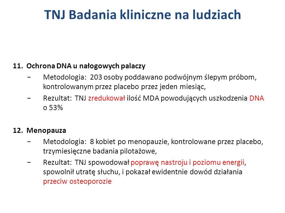 11. Ochrona DNA u nałogowych palaczy Metodologia: 203 osoby poddawano podwójnym ślepym próbom, kontrolowanym przez placebo przez jeden miesiąc, Rezult