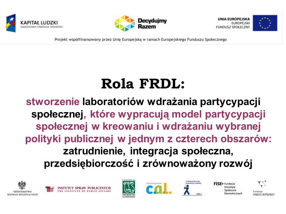 Rola FRDL: stworzenie laboratoriów wdrażania partycypacji społecznej, które wypracują model partycypacji społecznej w kreowaniu i wdrażaniu wybranej p