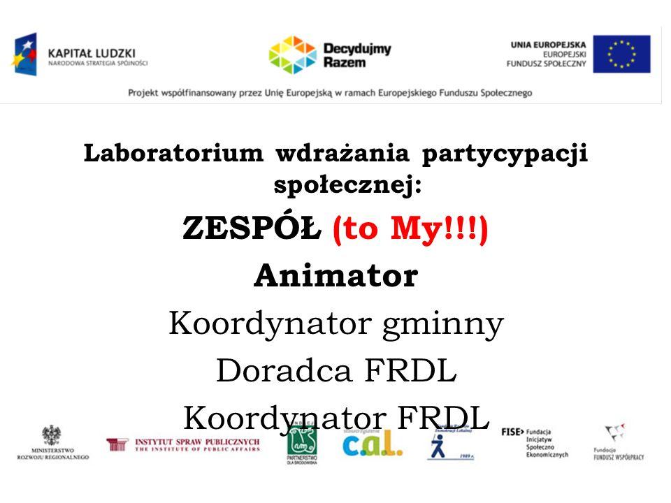 Laboratorium wdrażania partycypacji społecznej: ZESPÓŁ (to My!!!) Animator Koordynator gminny Doradca FRDL Koordynator FRDL