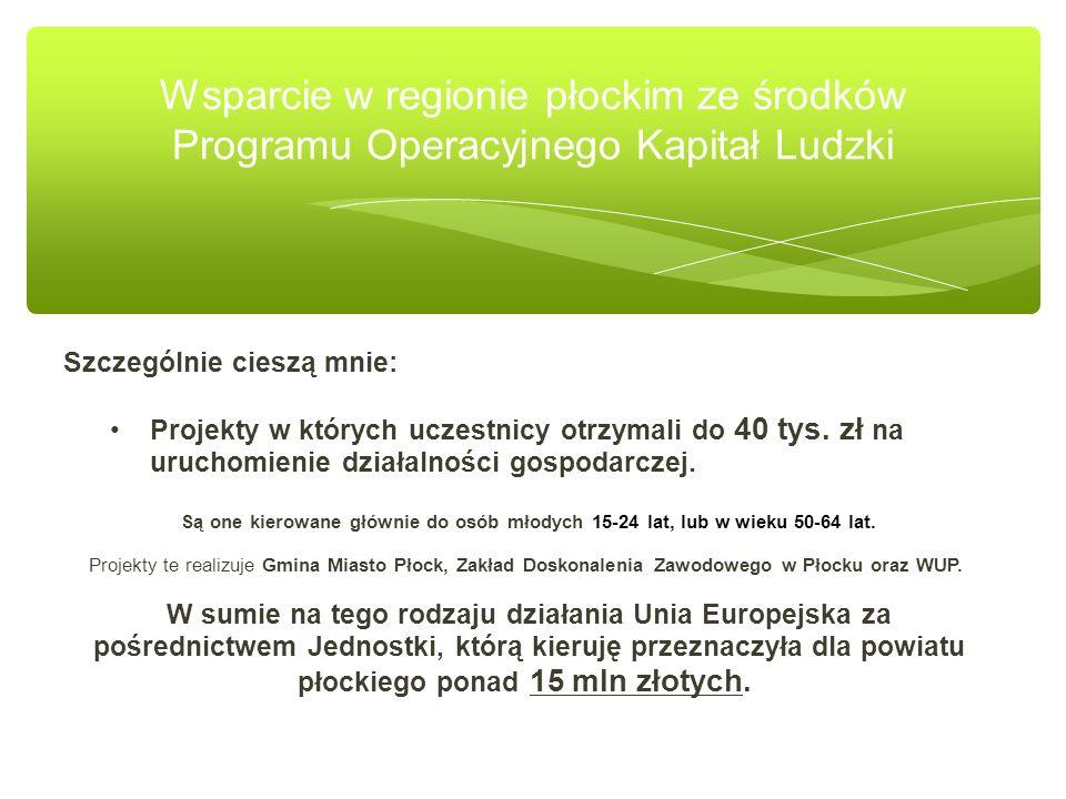 Wsparcie w regionie płockim ze środków Programu Operacyjnego Kapitał Ludzki Szczególnie cieszą mnie: Projekty w których uczestnicy otrzymali do 40 tys.