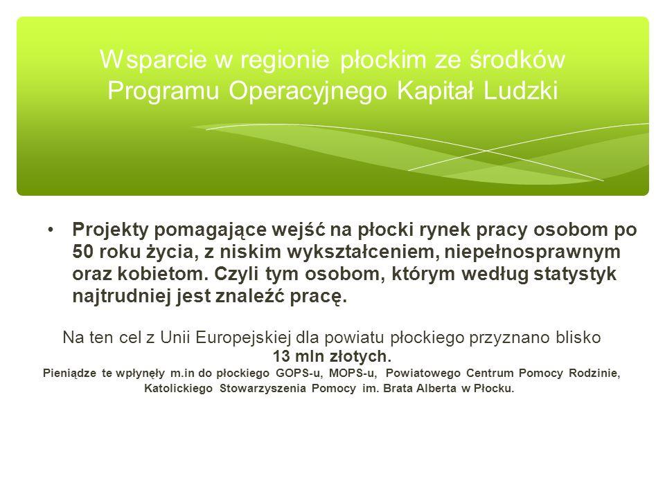 Wsparcie w regionie płockim ze środków Programu Operacyjnego Kapitał Ludzki Projekty pomagające wejść na płocki rynek pracy osobom po 50 roku życia, z niskim wykształceniem, niepełnosprawnym oraz kobietom.