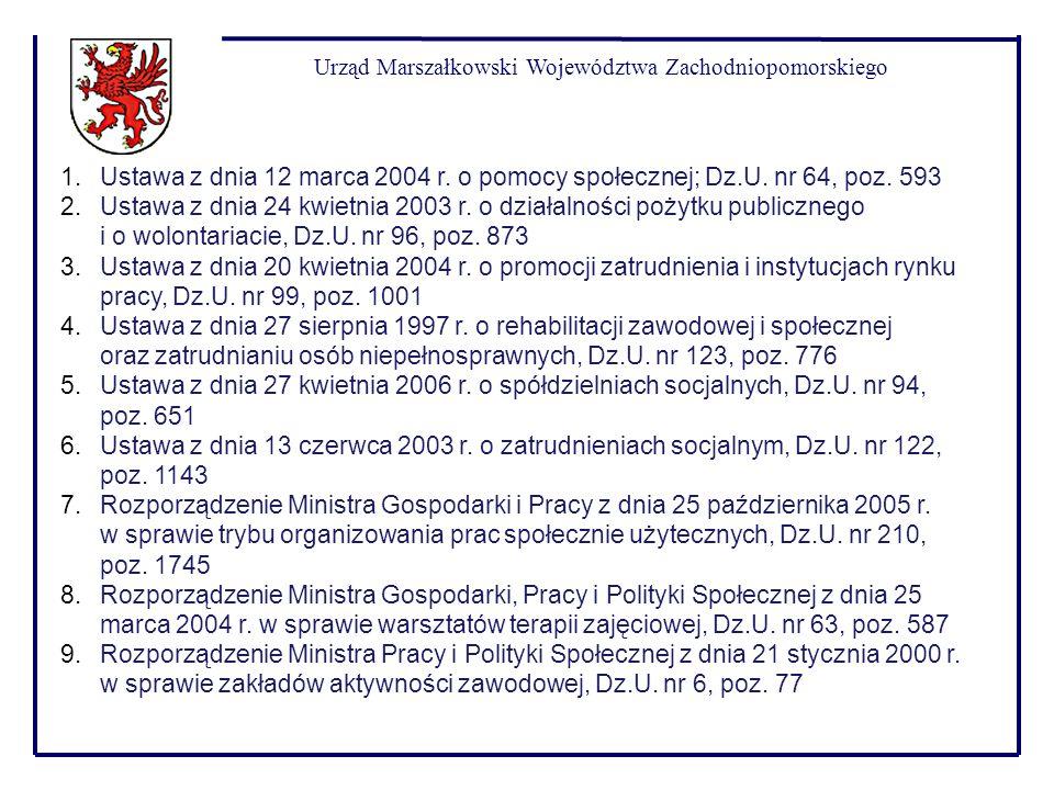 Urząd Marszałkowski Województwa Zachodniopomorskiego 1.Ustawa z dnia 12 marca 2004 r. o pomocy społecznej; Dz.U. nr 64, poz. 593 2.Ustawa z dnia 24 kw