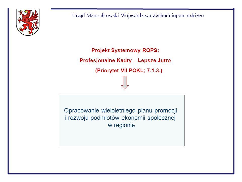Urząd Marszałkowski Województwa Zachodniopomorskiego Opracowanie wieloletniego planu promocji i rozwoju podmiotów ekonomii społecznej w regionie Proje