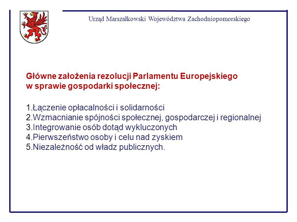 Urząd Marszałkowski Województwa Zachodniopomorskiego Główne założenia rezolucji Parlamentu Europejskiego w sprawie gospodarki społecznej: 1.Łączenie o