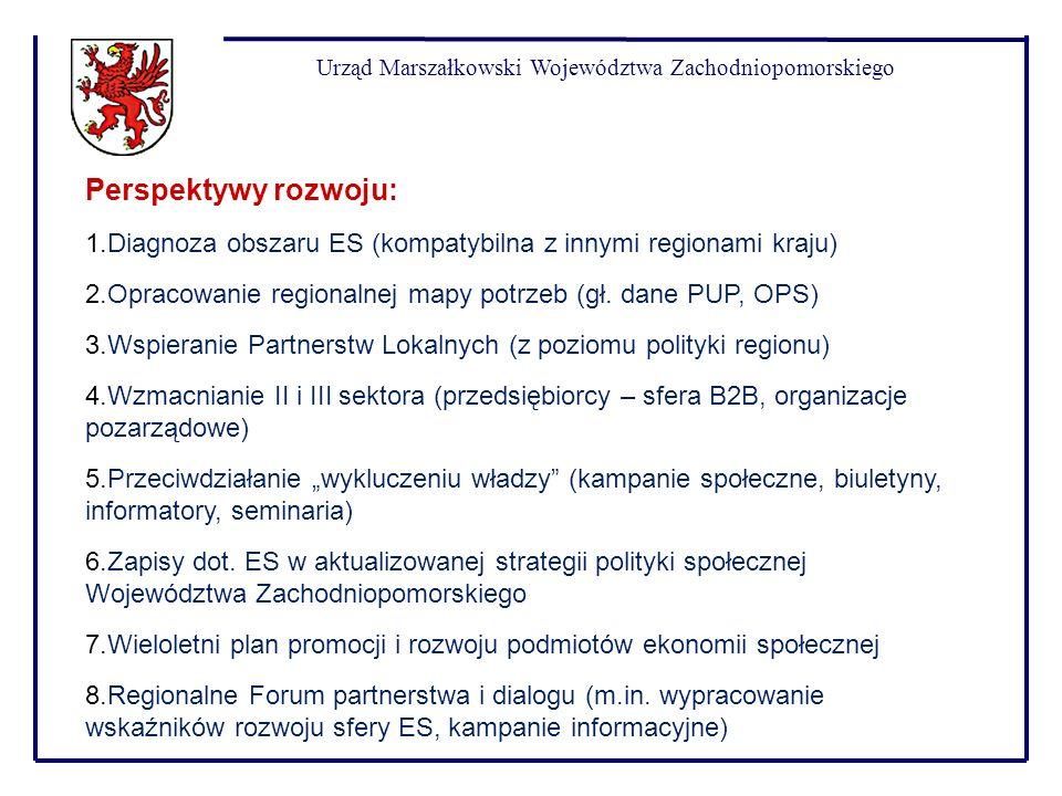 Urząd Marszałkowski Województwa Zachodniopomorskiego Perspektywy rozwoju: 1.Diagnoza obszaru ES (kompatybilna z innymi regionami kraju) 2.Opracowanie